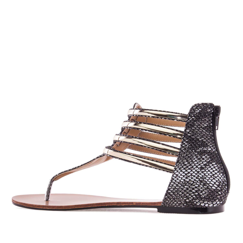 Gladiator Sandals in Black Snake print