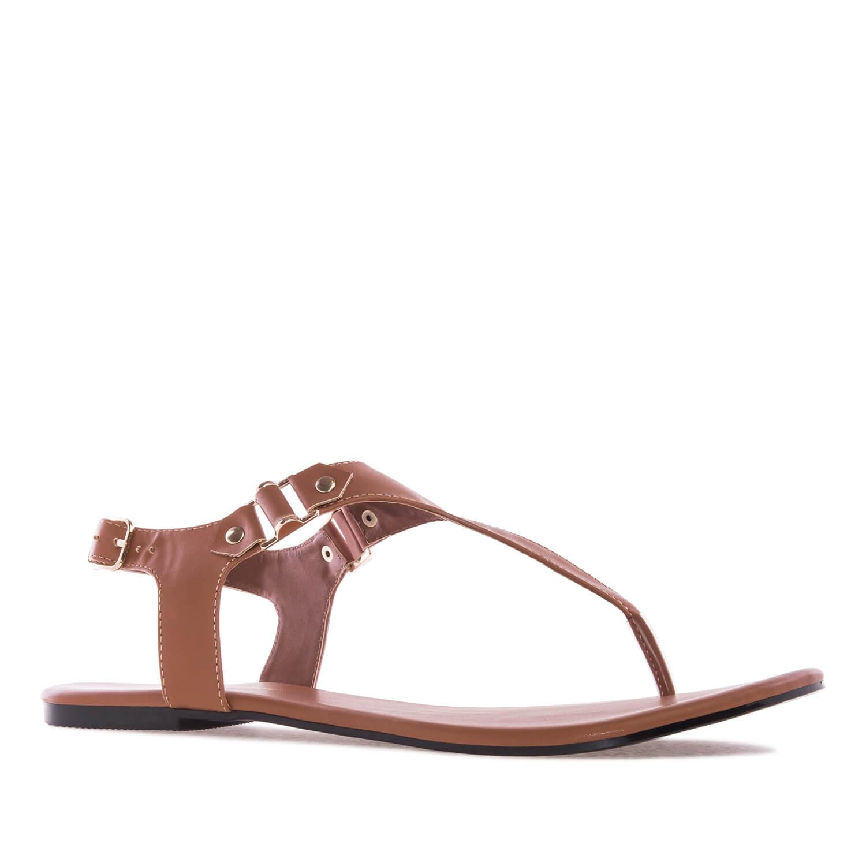 Ravne sandale-japanke, braon