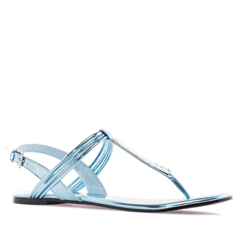 Ravne lakovane sandale, tirkizne