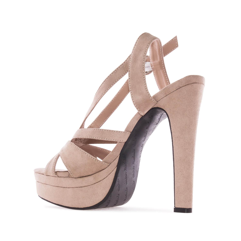 Letní obuv na extravysokém podpatku. Celosemišová. Béžová.