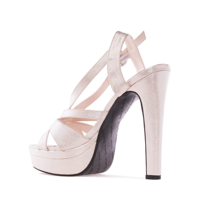 Letní obuv na extravysokém podpatku. Třpytivá perleťová.