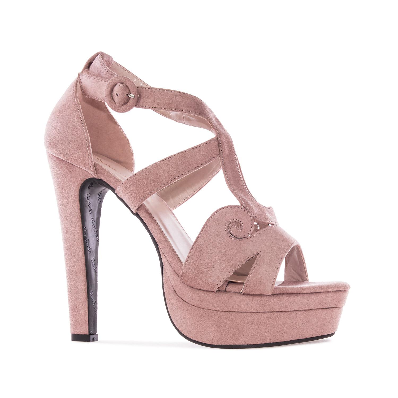 Elegantní pásková obuv na extravysokém podpatku. Celosemišová. Starorůžová.