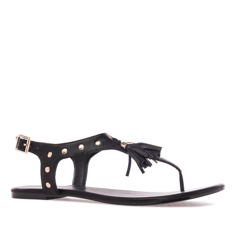 Ravne sandale sa ukrasnim detaljima, crne