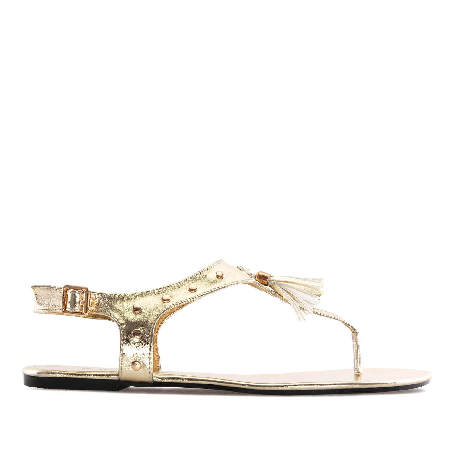 Sandalias T-Bar en Soft Oro.