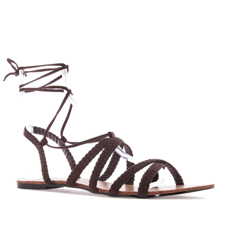 Sandale sa pletenim kaiševima, braon