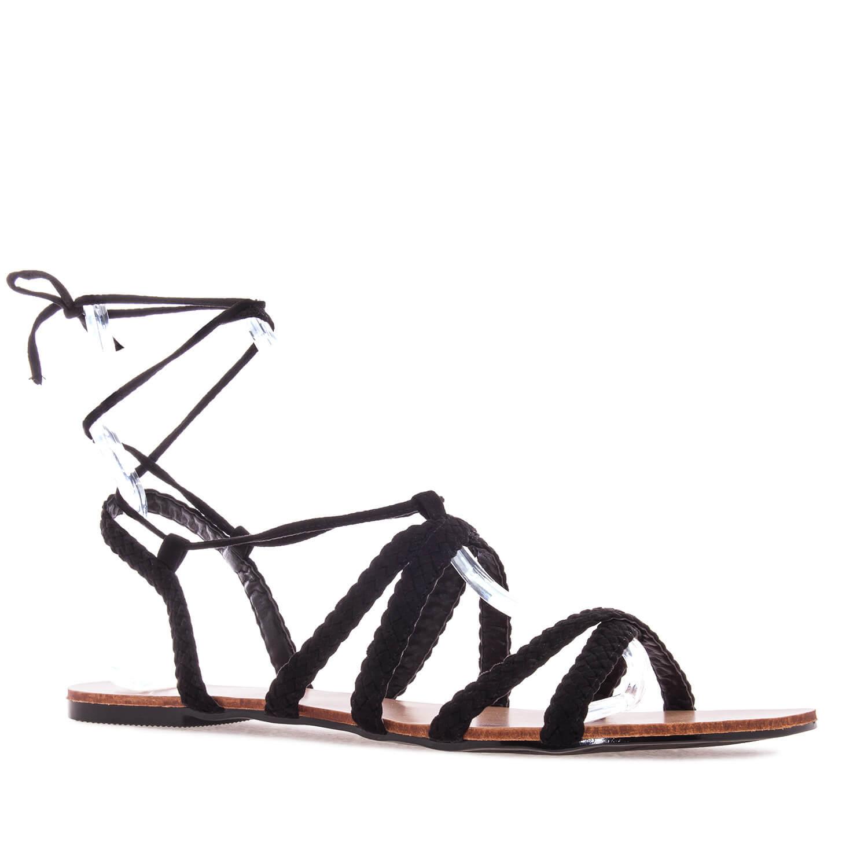 Sandale sa pletenim kaiševima, crne