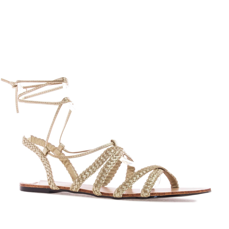 Sandale sa pletenim kaiševima, zlatne
