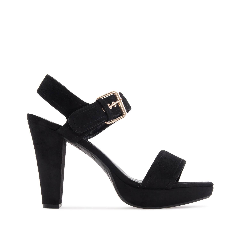 Letní vysoké semišové sandále, široké pásky. Černá.