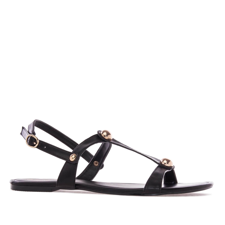 Ravne sandale sa nitnama, crne
