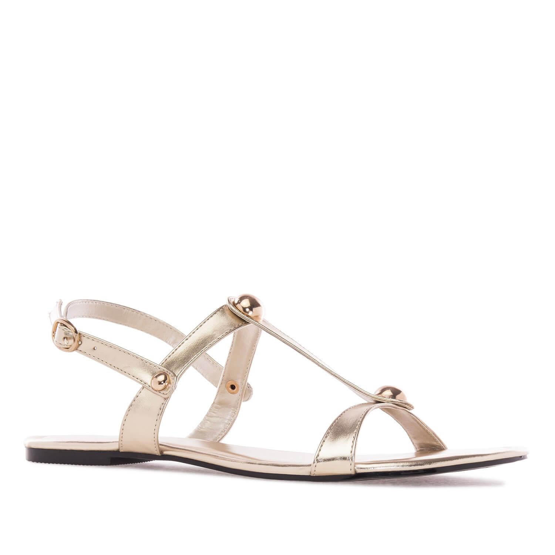 Ravne sandale sa nitnama, zlatne