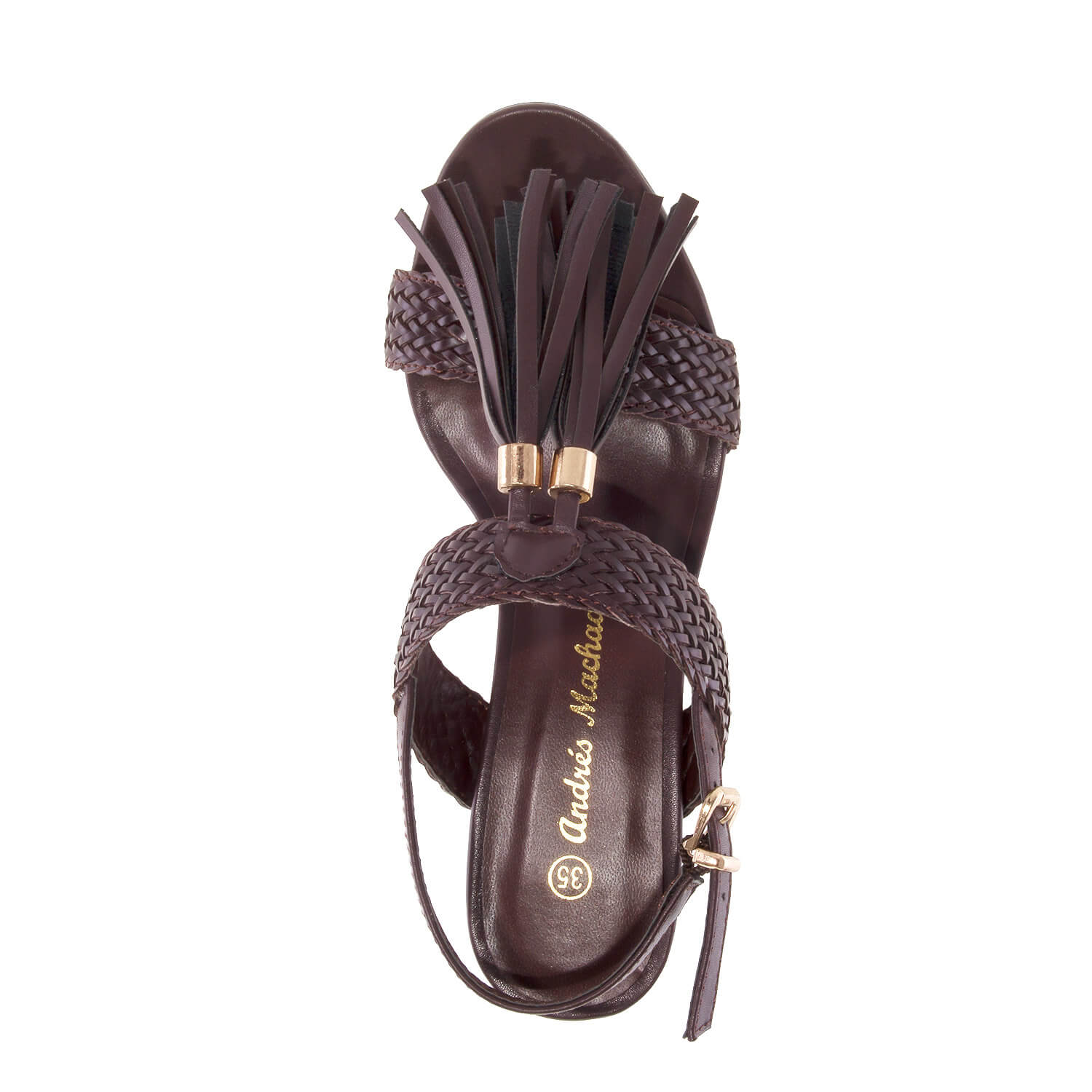 Sandalias en soft color Marron con borlas.