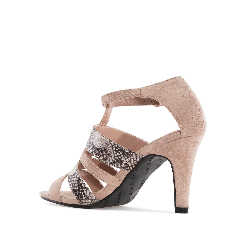 Elegantní páskové sandále, podpatek. Kombinace semiš a hadí kůže. Béžové.