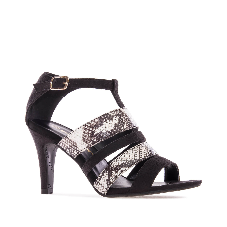 Kombinovane otvorene sandale, crne