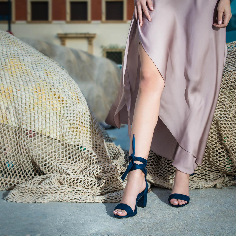 Sandalias en Ante color Marino