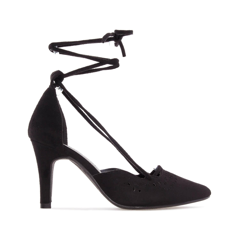 Lace Sandals in Black Die-Cut faux Suede