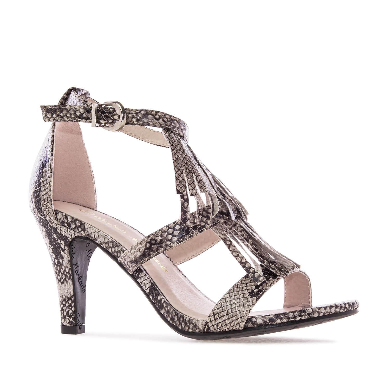 Sandale na štiklu sa zmijskim dezenom