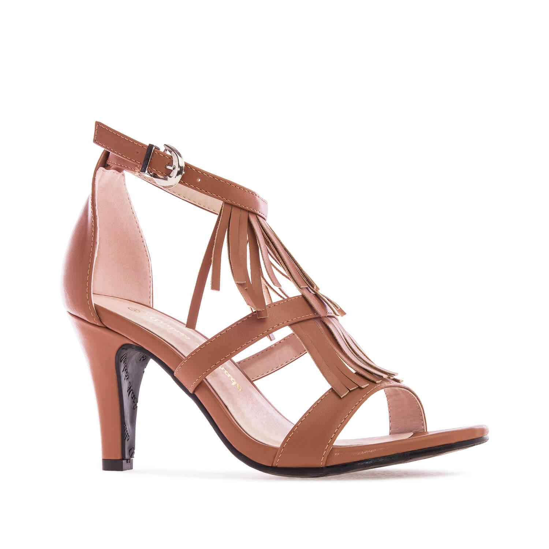 Sandale na štiklu, soft braon