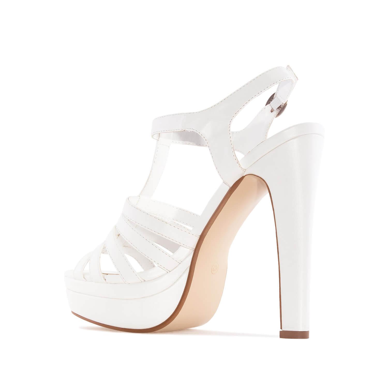 Sandalias con plataforma T-Bar en Soft Blanco