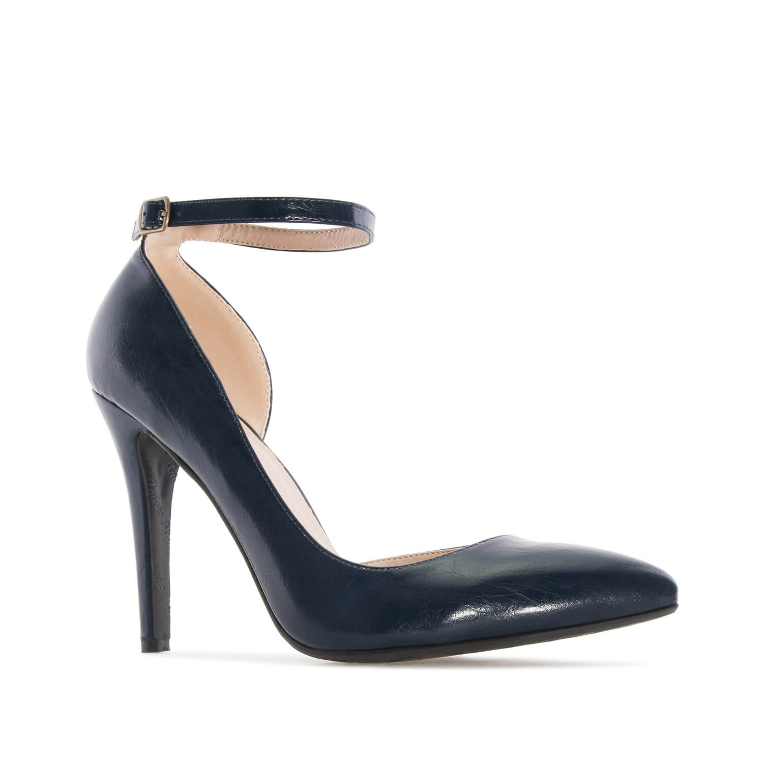 Ankle-Tie Stilettos in Navy faux Leather