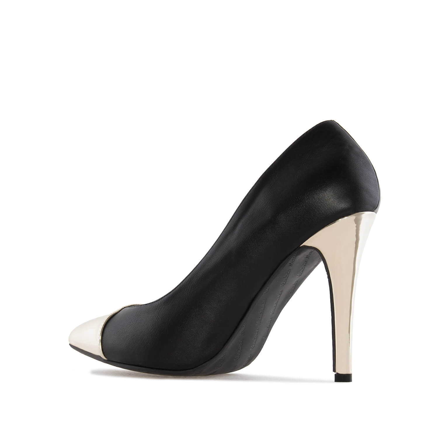Pumps in Black faux Leather with Gold Patent Tip & Heel
