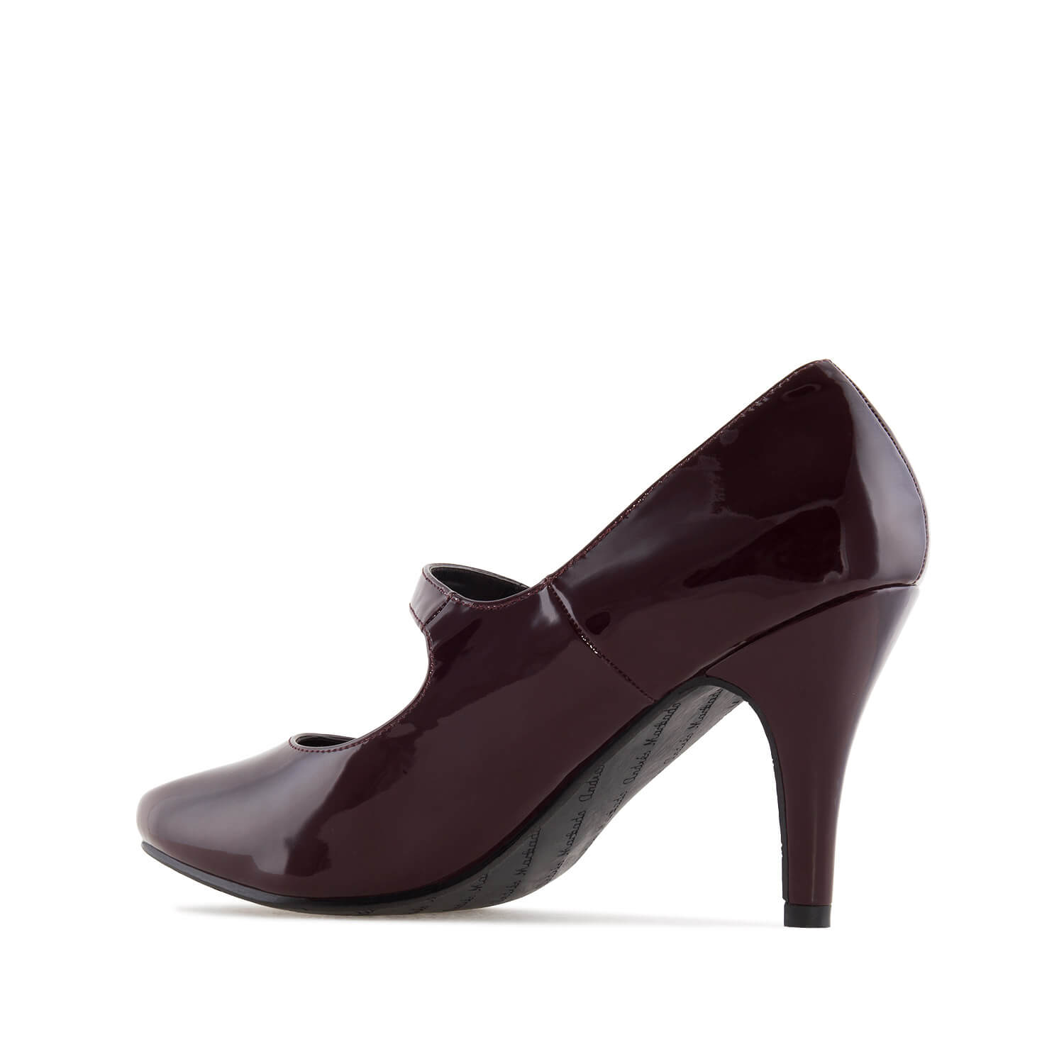 Mary Jane Heeled Shoes in Burgundy Patent