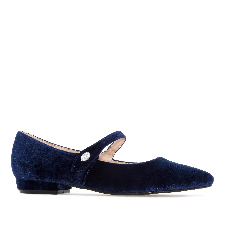 Plišane baletanke Mary Jane, plave