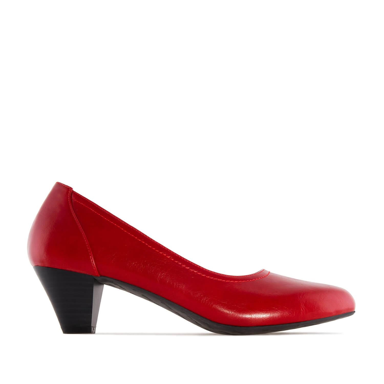 Lodičky na nižším podpatku. Prošívaný lem. Pro širší chodidlo. Červené.