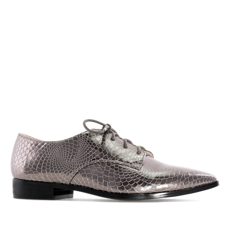 Ženske cipele na pertlanje, srebrne