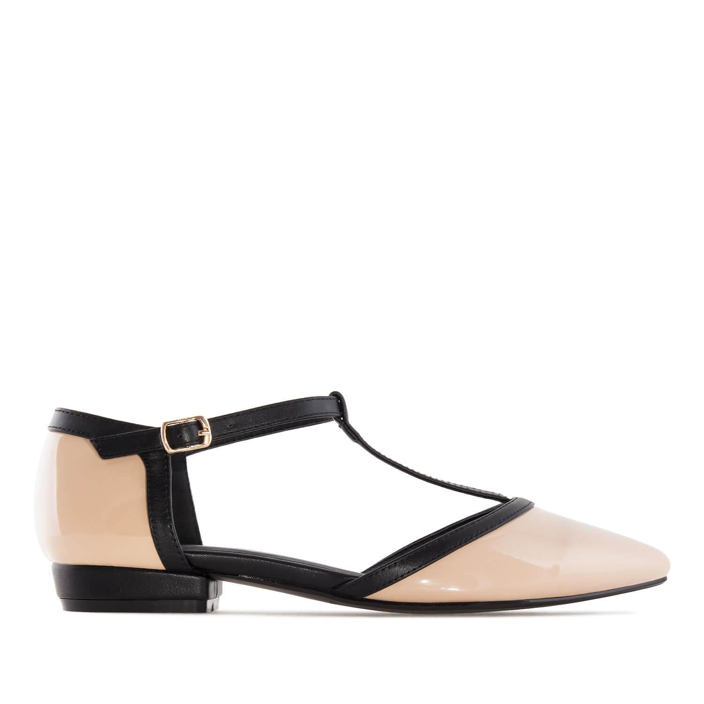 Lakovane sandale u formi baletanki, bež