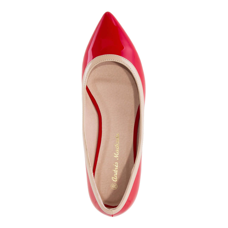 Vintage baleríny lakýrky, úzká špička. Červené.