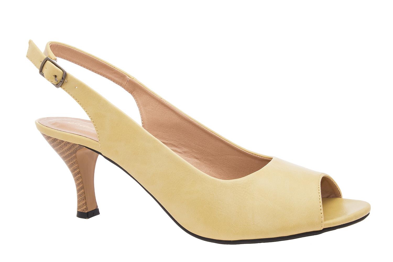 Otvorene sandale sa nižom petom, žute