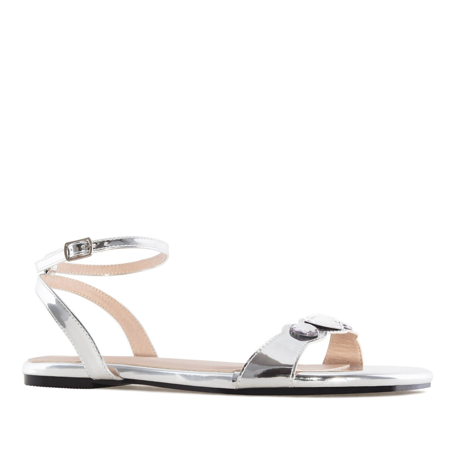 3858737b8 Flat Sandals in Metallic Silver Patent Leather. Discover them!