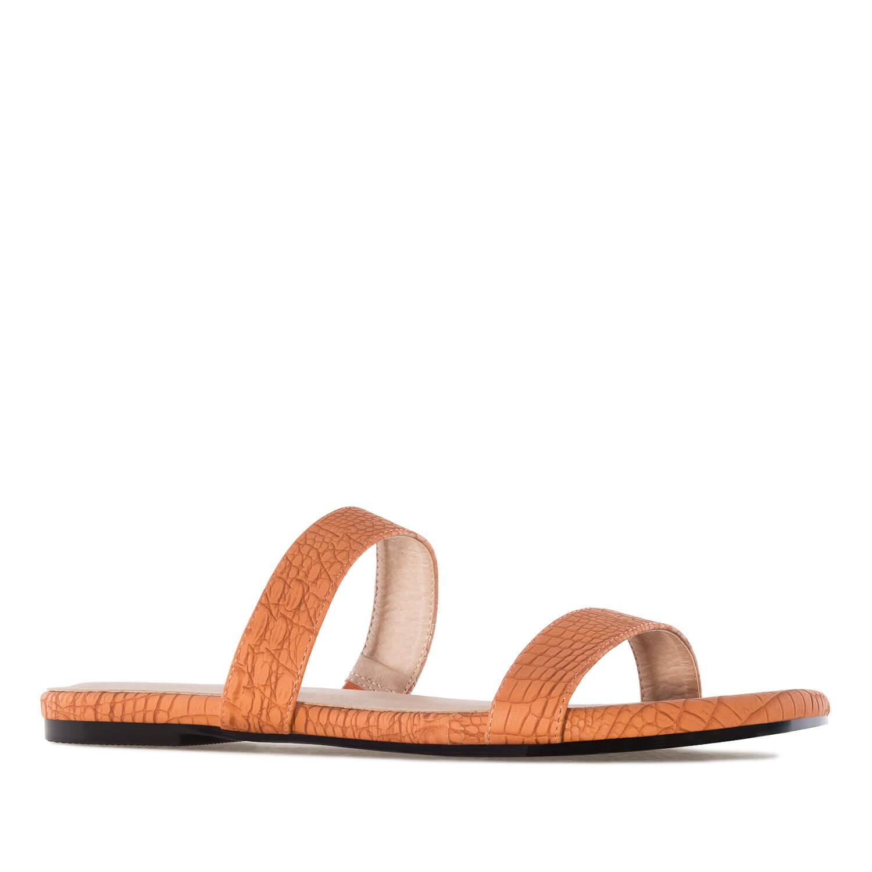 Jednoduché páskové pantofle. Hadí kůže oranžová cihlová.