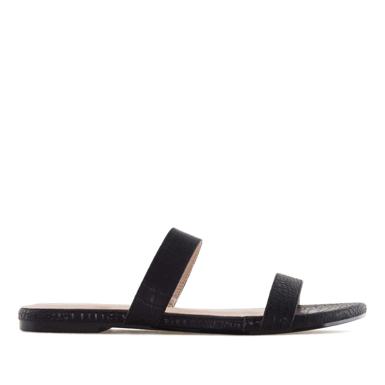 Jednoduché páskové pantofle. Hadí kůže černá.