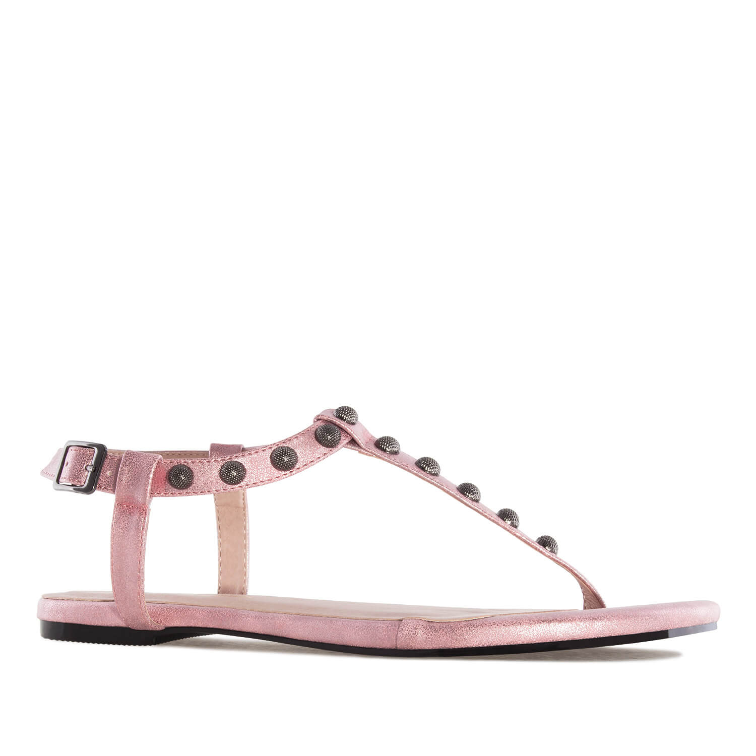 Sandalia T-Bar en Brillo Rosa