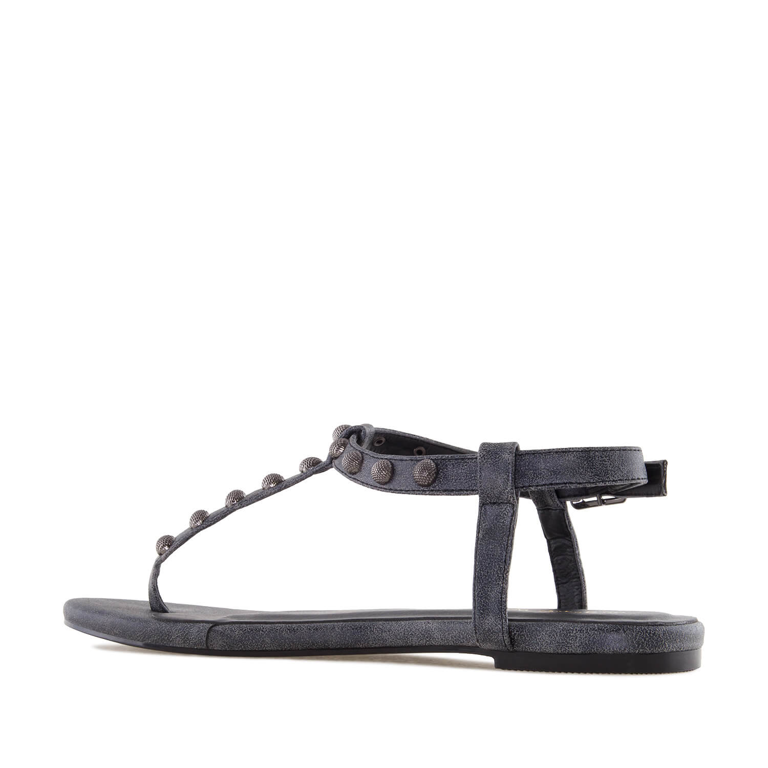 Grey Shiny-Patent T-Bar Tack Flat Sandals