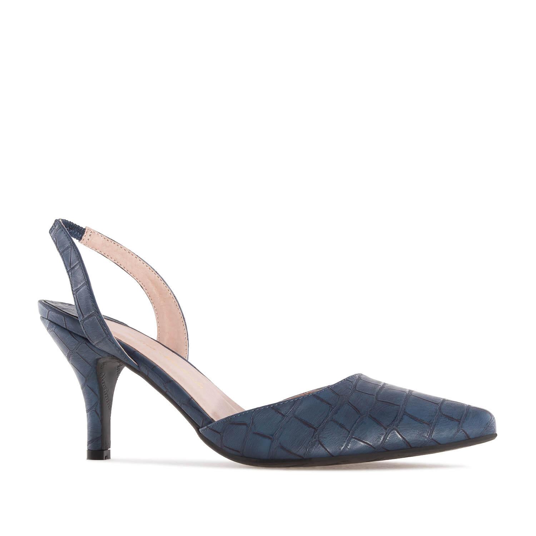 Dámská obuv, krokodýlí kůže modrá.
