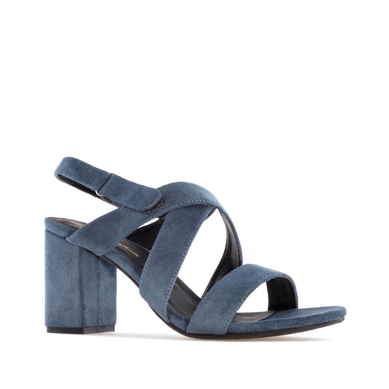 Semišové páskové sandále. Široký podpatek. Modré.