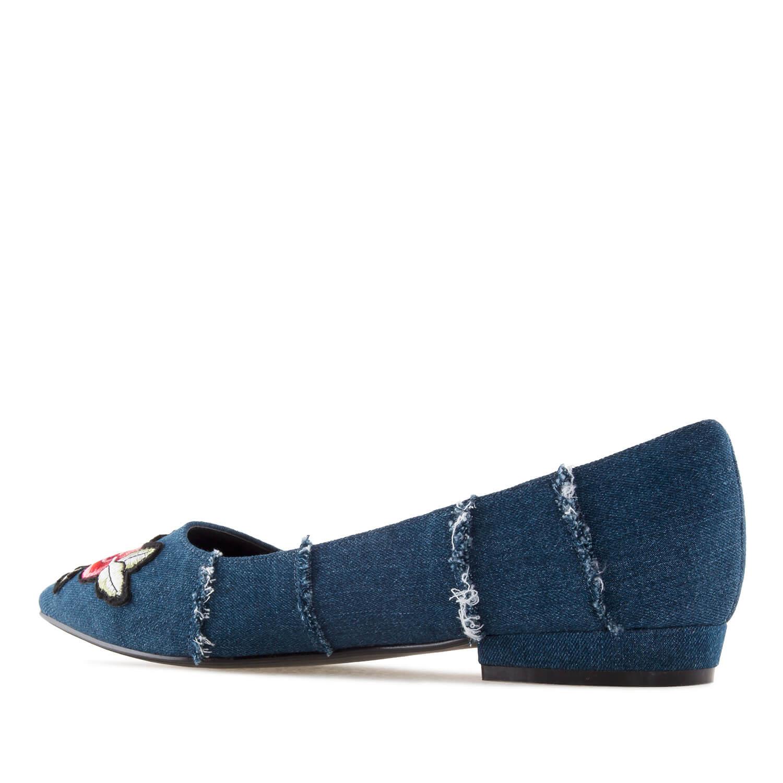 Bailarina Tejido Jeans Parche Flores