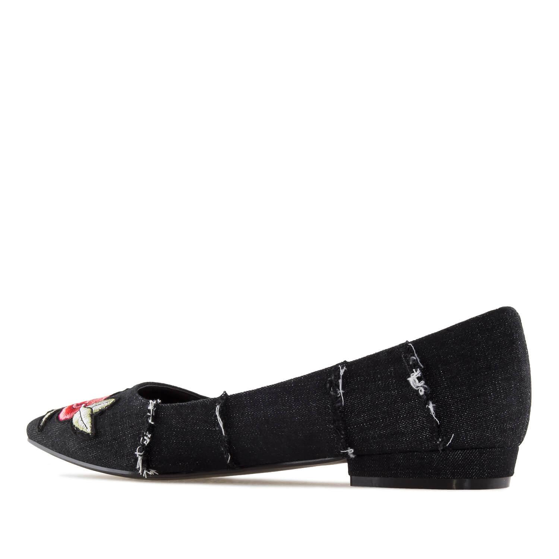 Bailarina Tejido Jeans Negro Parche Flores