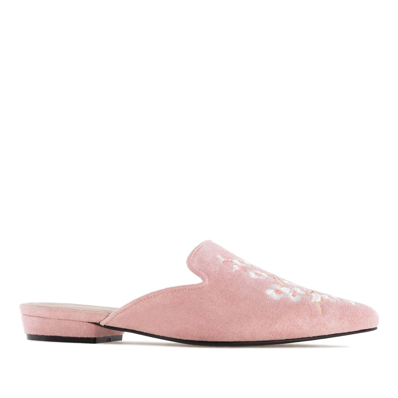 Zapato destalonado Rosa Bordado Flores.
