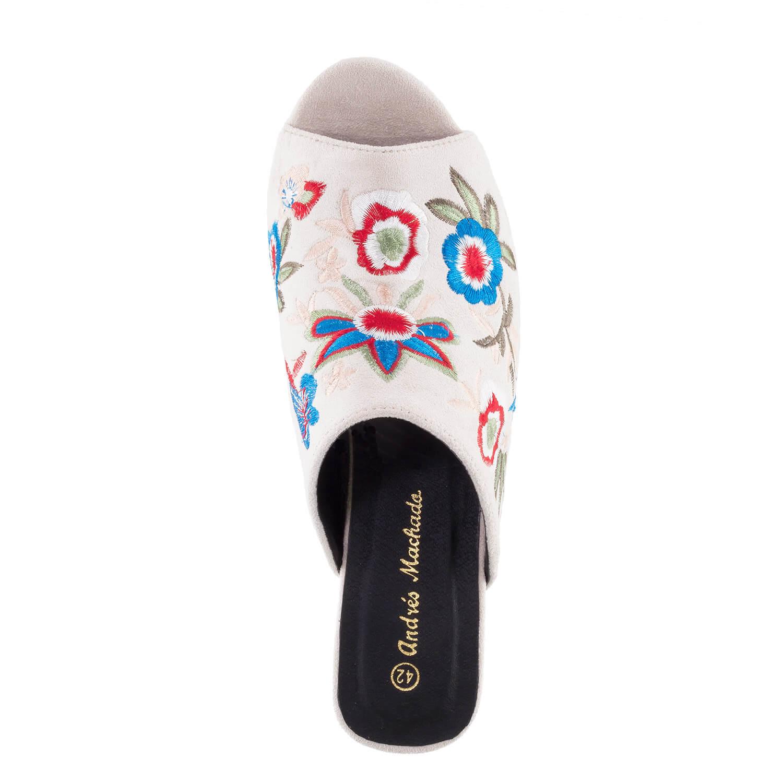 Mule papuče sa cvetnim dezenom, bež