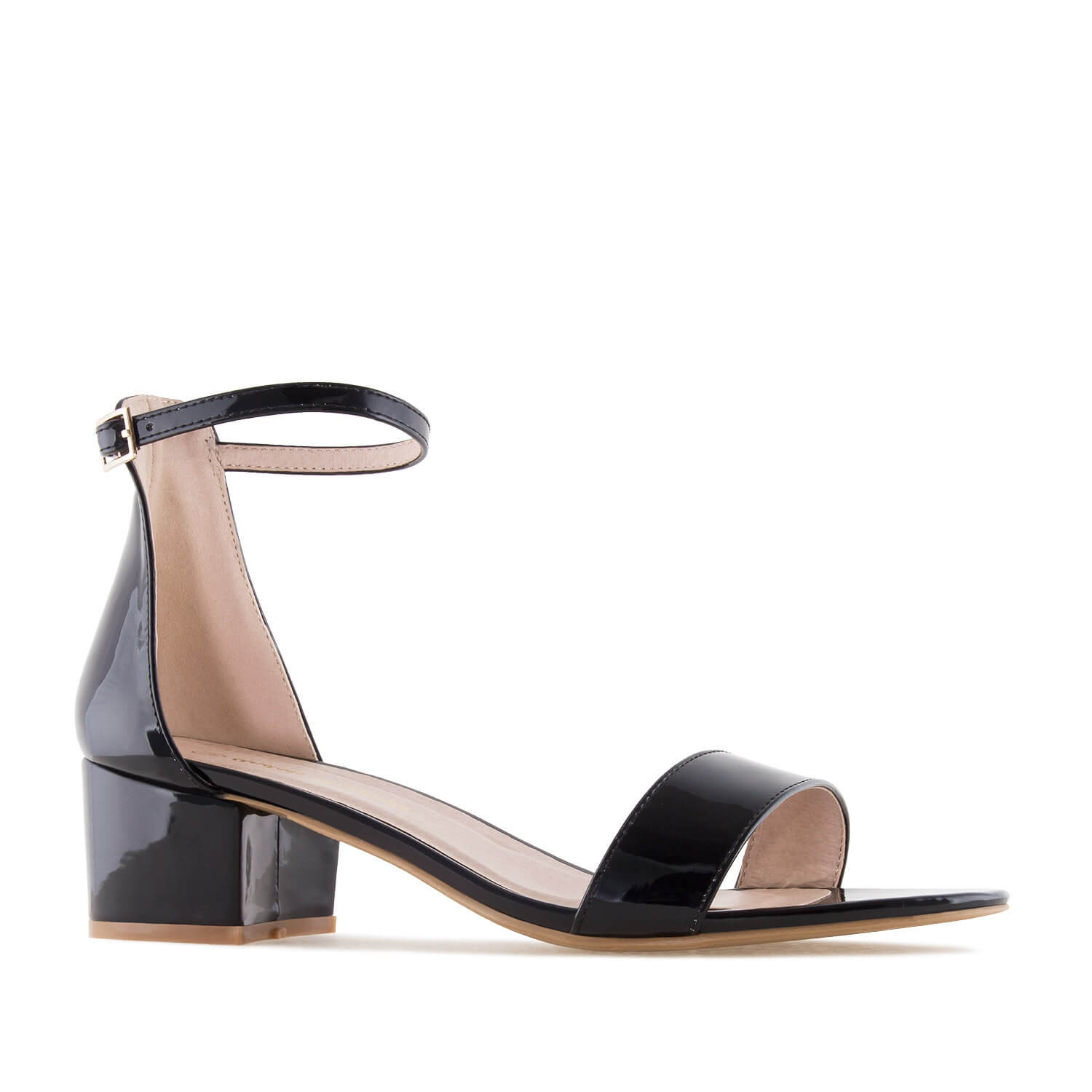 Black Patent Low Heeled Sandals