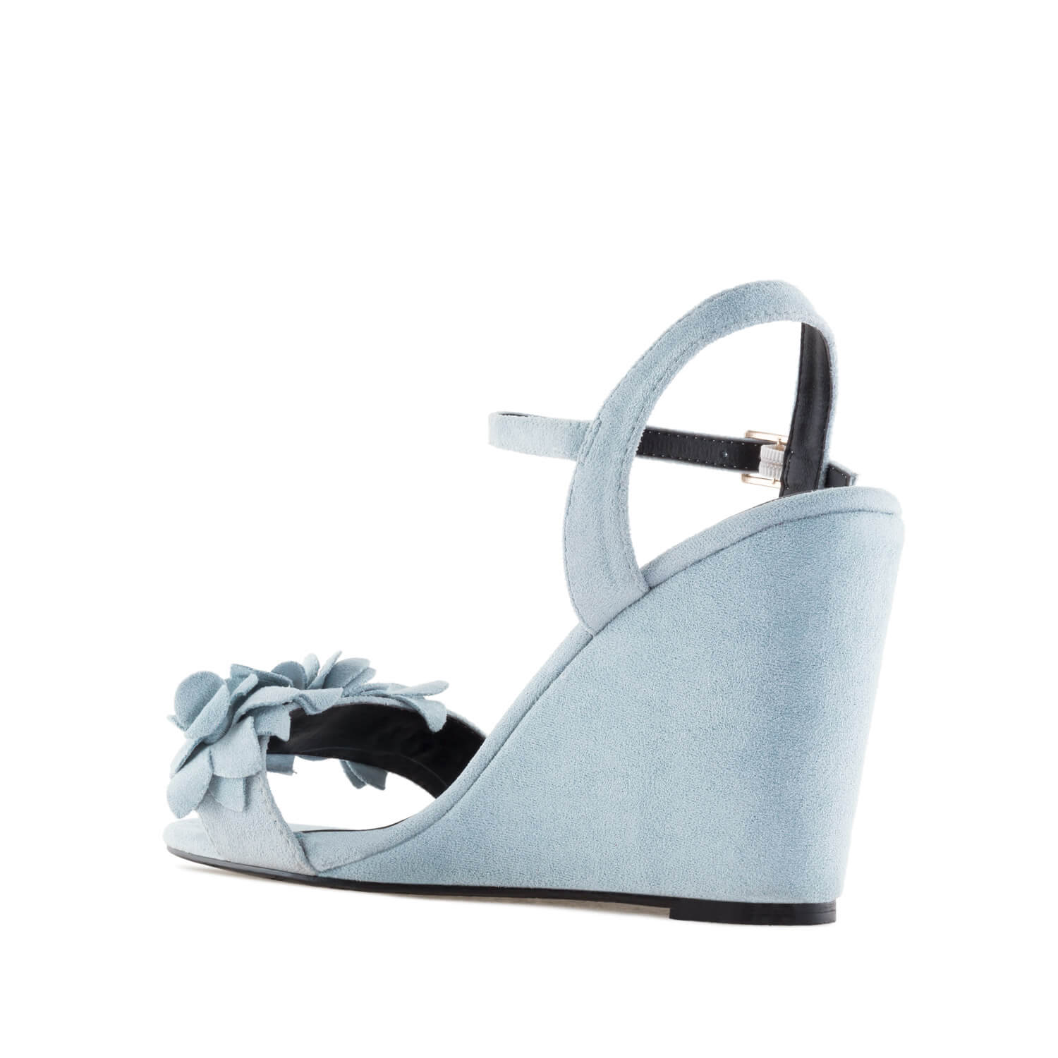 Sky Blue Suede Flower Wedges