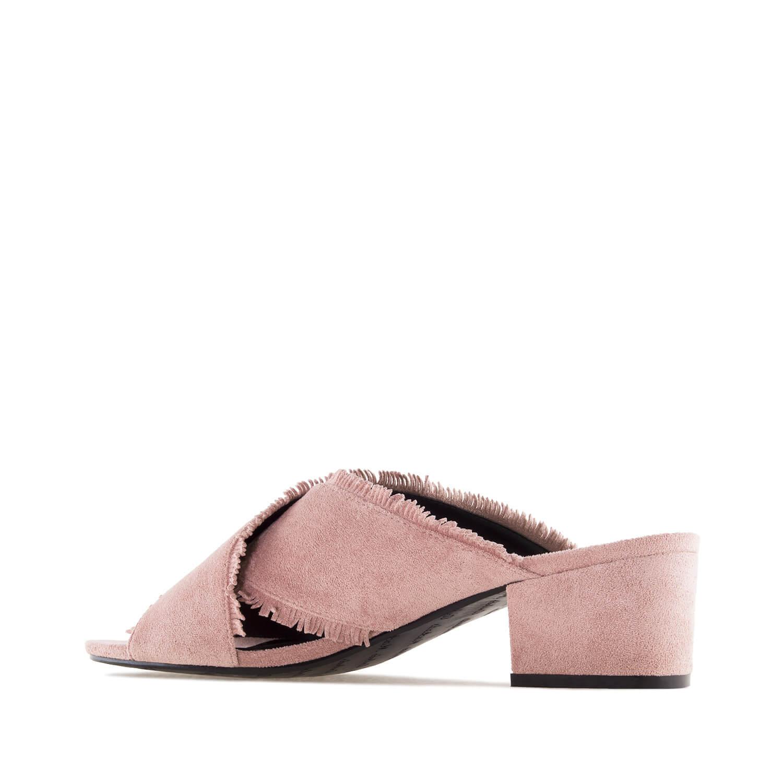 Celosemišové pantofle s třásněmi. Starorůžová.