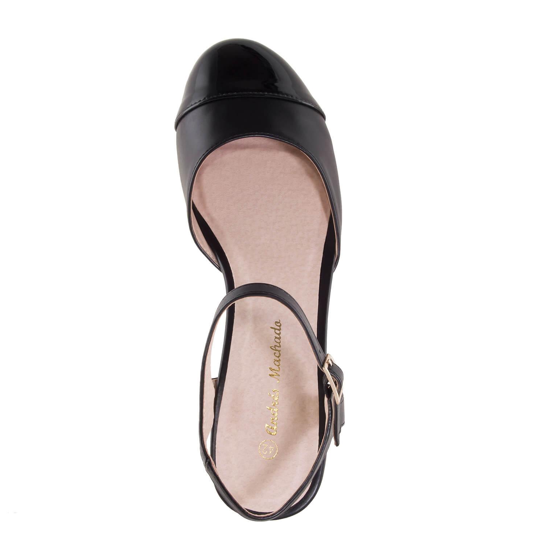 Sandalette in Soft-Schwarz mit geschlossener Spitze