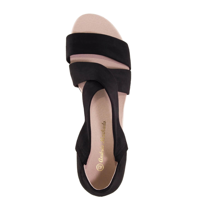 Antilop sandale sa niskom plutanom platformom, crne