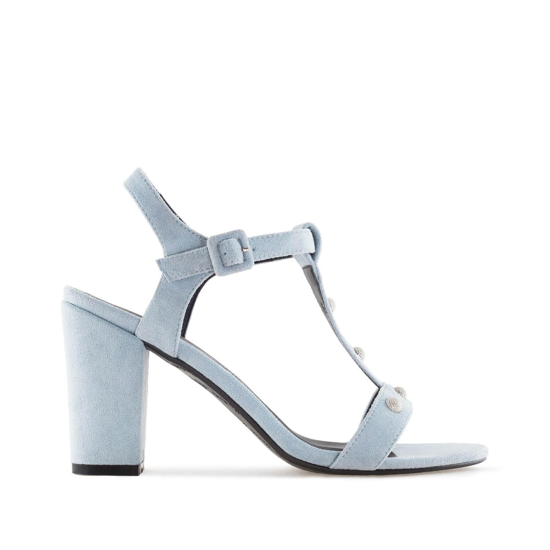Celosemišové T-bar sandále na podpatku. Modré.