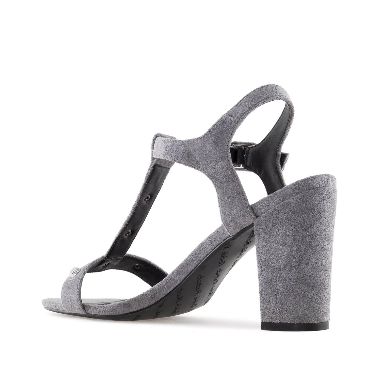 Celosemišové T-bar sandále na podpatku. Šedé.