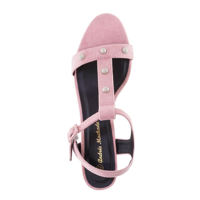 Celosemišové T-bar sandále na podpatku. Růžové.